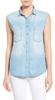 Women's Mavi Jeans High/low Lightweight Denim Shirt $88 thestylecure.com
