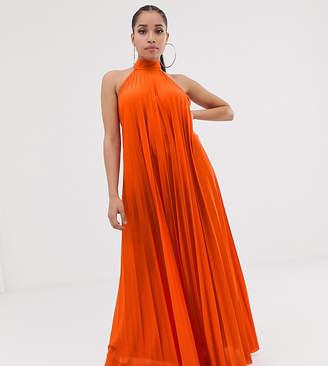 0e45b0b967 Asos DESIGN Petite backless halter pleated maxi dress