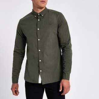 River Island Mens Khaki green slim fit button-down shirt