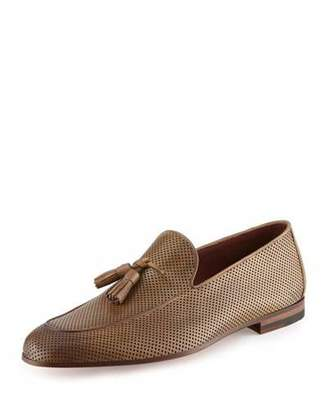 Magnanni for Neiman Marcus Perforated Leather Tassel Loafer, Tan $395 thestylecure.com
