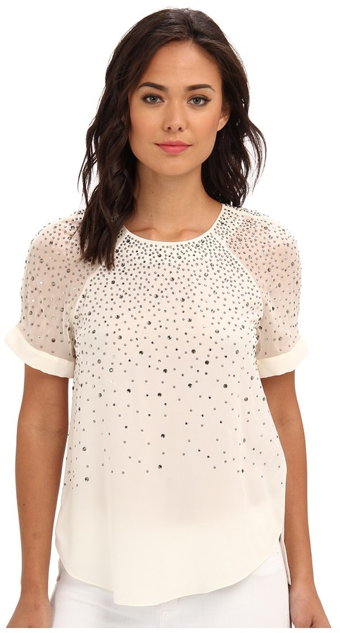 Rebecca Taylor Short Sleeve Ombre Embroidered Jersey Tee