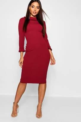 boohoo Pleat Detail Midi Dress
