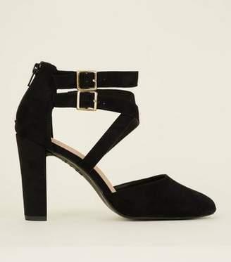 New Look Wide Fit Black Comfort Flex Suedette Strappy Courts