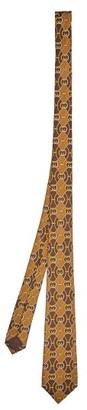 Gucci Gg Print Silk Satin Twill Tie - Mens - Brown