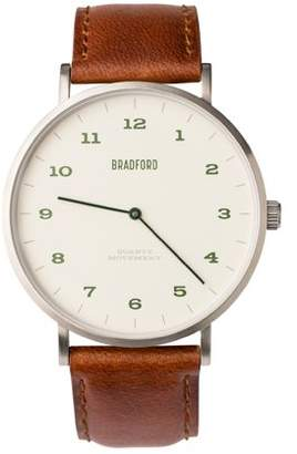 Bradford Claypool | Brushed Stainless Silver/Oil Tan Dark Brown Band