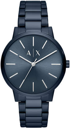Armani Exchange Men Cayde Blue Stainless Steel Bracelet Watch 42mm