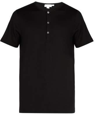 Sunspel Cotton Jersey Henley T Shirt - Mens - Black