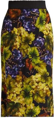 Dolce & Gabbana Grape-print cady midi skirt