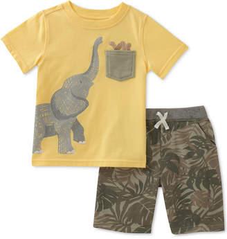 Kids Headquarters Baby Boys 2-Pc. Cotton Elephant T-Shirt & Printed Shorts Set
