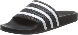 adidas Mens Adilette Black White Synthetic Sandals US