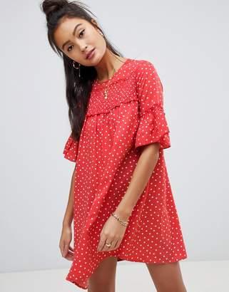 Wednesday's Girl smock dress in mini heart print