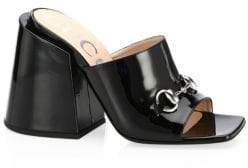 Gucci Patent Leather Heeled Slides