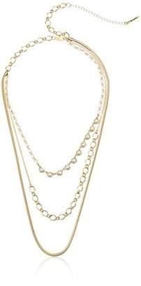 T Tahari essentials bright off white pearl chain strand necklace