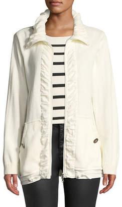 Pure & Co. Jasmine Ruffled-Trim Zip-Front Cardigan