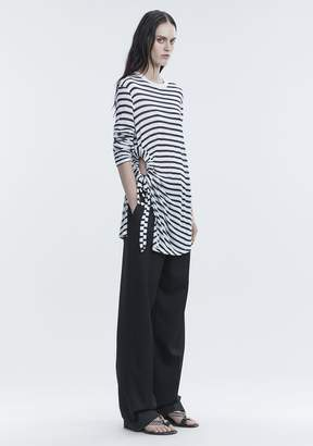Alexander Wang STRIPED LONG SLEEVE CUTOUT TEE TOP