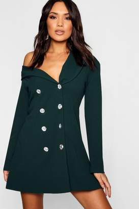 boohoo One Shoulder Diamante Button Blazer Dress