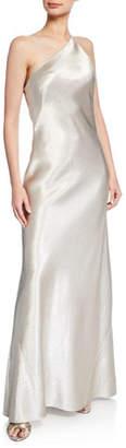 Galvan Roxy Metallic Satin One-Shoulder Gown