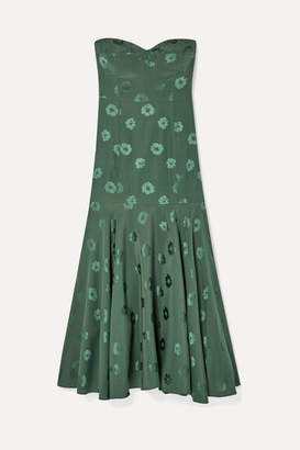 Veronica Beard Annika Silk-blend Floral-jacquard Midi Dress - Dark green