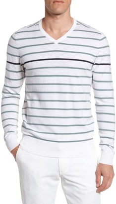Men's Ag The Farrell Stripe V-Neck Sweater $178 thestylecure.com