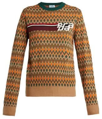 Prada Fair Isle Wool Blend Sweater - Womens - Brown Multi