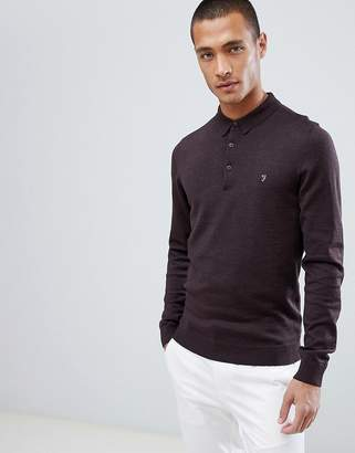 Farah Maidwell knitted long sleeve polo in burgundy