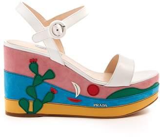 Prada Cactus appliqué suede and leather wedge sandals