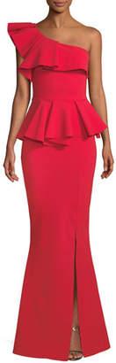 Chiara Boni Mika Peplum One-Shoulder Gown