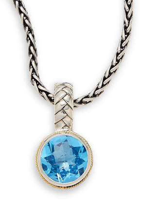 Effy Fine Jewelry Blue Topaz, Silver & 18K Round Necklace