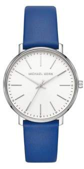 Michael Kors Pyper Stainless Steel, Crystal & Leather-Strap 3-Hand Watch