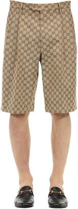 Gucci Gg Logo Cotton Canvas Shorts
