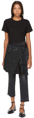 Sacai Black Pleated Wrap Skirt Jeans