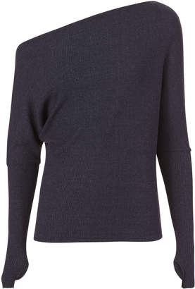 Enza Costa Off Shoulder Thumbhole Navy Sweater