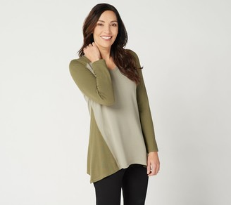 Denim & Co. Active Petite Heavenly Jersey Colorblocked Tunic