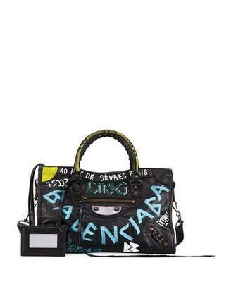 Balenciaga Classic City Graffiti Tote Bag, Black (Noir) $2,150 thestylecure.com