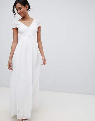Little Mistress allover broderie plunge front maxi dress in white