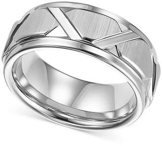 Triton Men White Tungsten Ring, Bright Cuts Wedding Band