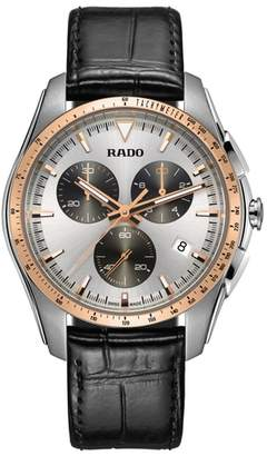 Rado HyperChrome Chronograph Leather Strap Watch, 44.9mm