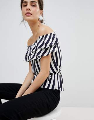 Oasis Striped Bardot Blouse With Removable Straps