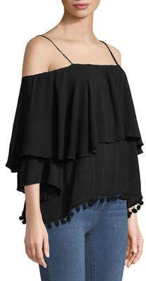 philosophy Pompom Trimmed Tiered Cold-Shoulder Blouse