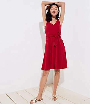 LOFT Petite Tie Waist Pocket Dress