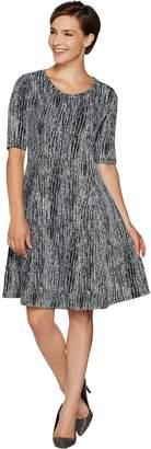 Halston H By H by Regular Knit Jacquard Fit & Flare Dress