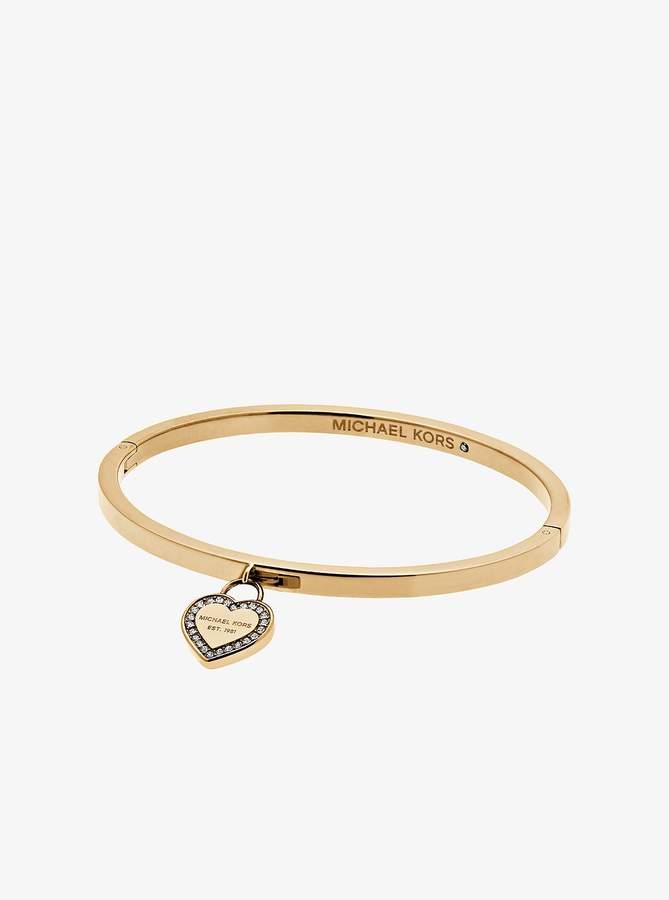 Michael Kors Gold-Tone Logo Heart Bangle