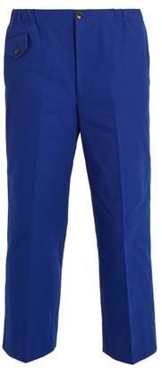 Gucci - Mid Rise Wide Leg Cotton Trousers - Mens - Blue