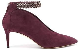 Jimmy Choo Lux Crystal Embellished Suede Pumps - Womens - Burgundy