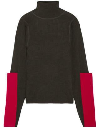 Joseph Paneled Waffle-knit Merino Wool Turtleneck Sweater - Army green