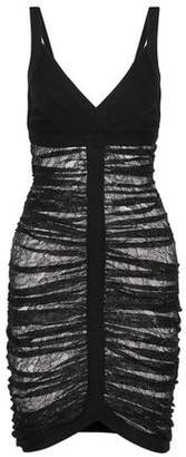 Herve Leger Esther Ruched Lace And Bandage Dress