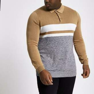 River Island Big and Tall brown block knit polo shirt