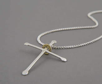 Neve Latham & Ripple Cross Silver Necklace
