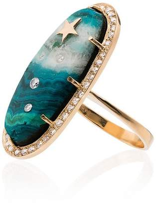 Andrea Fohrman 18K yellow gold Chrysocolla star diamond ring