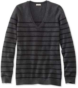 L.L. Bean L.L.Bean Classic Cashmere Sweater, V-Neck Stripe